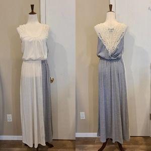 M Rain Grey & White Lace Maxi Dress
